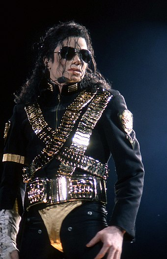 Jackson during the Dangerous World Tour in 1993 Michael Jackson Dangerous World Tour 1993.jpg