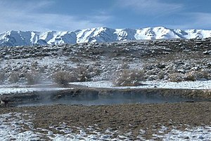 Mickey Hot Springs - Hot springs with Steens Mountain in background
