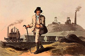 "Middleton, Leeds - ""The collier"" at Middleton Colliery, in The Costume of Yorkshire by George Walker, 1814"