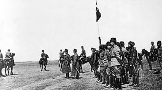 Battle of Dumlupınar - Mustafa Kemal and İsmet inspecting a military exercise of the Turkish First Army at Ilgin on 1 April 1922.
