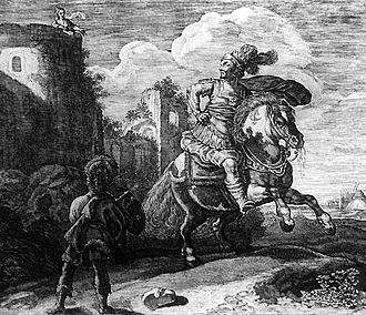 Minos - 17th-century engraving of Scylla falling in love with Minos