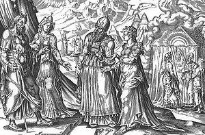 Tharbis - Miriam and Aaron complain against Moses and Tharbis on this engraving.