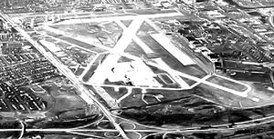 Mitchel Air Force Base - Looking west in 1968, the airfield is mainly intact.