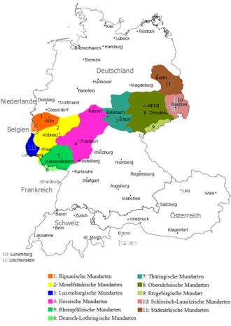Central German - Image: Mitteldeutsche Mundarten