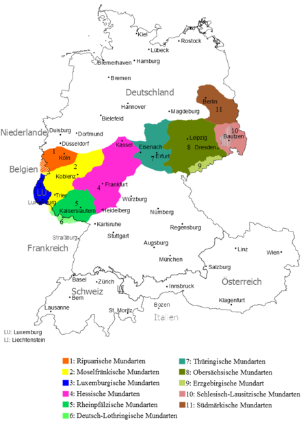 Central German language area. Moselle Franconian is shown in yellow (Germany) and blue (Luxembourg)