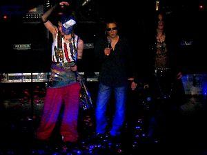 Skin (Japanese band) - Miyavi, Yoshiki and Sugizo at JRock Revolution in 2007.
