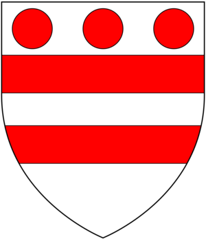 "Nicholas de Moels - Arms of Nichol de Moels, from the Glover Roll: ""d'argent od deux barres de gules ovec trois moeles de gules en le chief"" (Argent, two bars gules in chief three torteaux)"