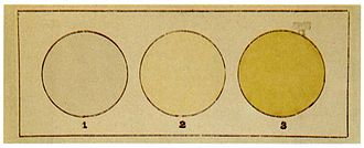 Henri Moissan - Moissan's 1892 observation of the color of fluorine gas (2), compared to air (1) and chlorine (3)