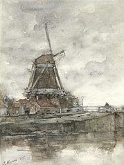 Molen en de brug bij de Noord-West-Buitensingel in Den Haag