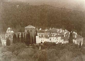 Hilandar - Hilandar Monastery during King Aleksandar Obrenović's visit in 1896.
