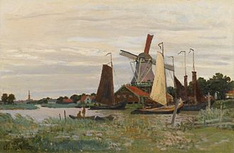 Zaandam - A windmill near Zaandam painted in 1871 by Claude Monet