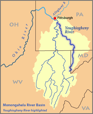 Monongahela River Map Youghiogheny River   Wikipedia