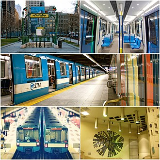 "Montreal Metro - Top Left: Hector Guimard's Paris Métro entrance at Square-Victoria-OACI Top Right: Interior of the new MPM-10 (""Azur"") trains.  Centre:MR-73 train at Montmorency station. Bottom Left: Two MR-73 trains at Plamondon station. Bottom Right: Ceramic mural at Crémazie station."