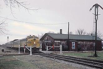 Genoa City, Wisconsin - A CNW train at Genoa City in December 1964