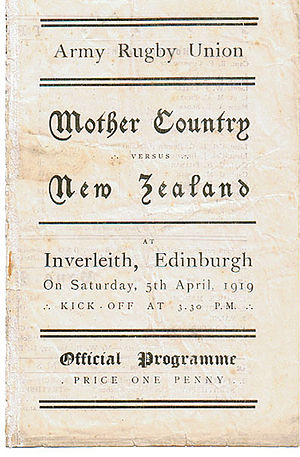 New Zealand Army rugby team of 1919 - Programme for the match between the Mother Country and New Zealand service teams