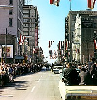 President Kennedy's motorcade on Main Street in Dallas, seen from the second camera car