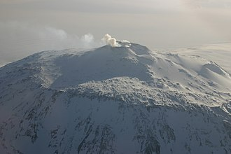 Ross Dependency - Aerial photo of Mount Erebus on Ross Island