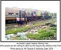 Moving Train while people are still rushing to catch up and hang by the side and on top of the Train at Oshodi, Lagos.jpg