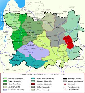 Mstsislaw Voivodeship - Mstislaw Voivodeship in red. Voivodeship's borders did not change since the Union of Lublin.