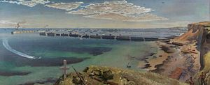 Stephen Bone - Mulberry Harbour (Art.IWM ARTLD 5445)