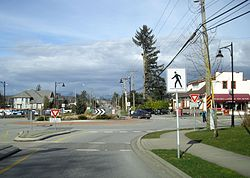 Roundabout at the centre of Murrayville on 216th St and 48th Ave
