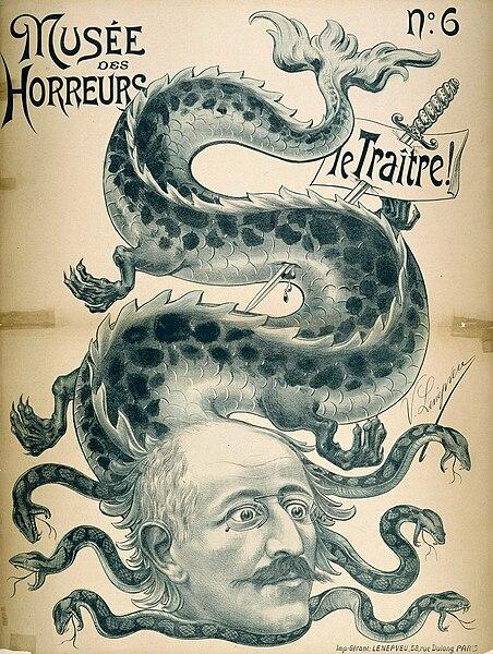 הקצין הצרפתי אלפרד דרייפוס מתואר כנחש בקריקטורה ארסית. cc: wikipedia
