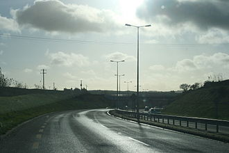 High-quality dual carriageway - HQDC section of the N22 approaching Cork South Ring (N40) from the north.