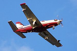 SOCATA TBM - A TBM 850 prior to landing. Note the deployed landing configuration