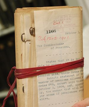 Red tape - Bundle of US pension documents from 1906 bound in red tape
