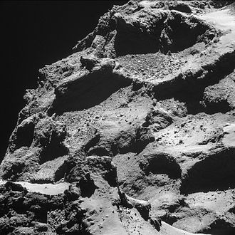 Comet nucleus - Surface of the nucleus of Comet 67P from 10 km away as seen by Rosetta spacecraft