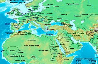 Ghassanid Kingdom - Near East in 565 AD, showing the Ghassanids and their neighbors.