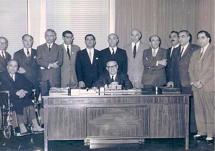 Hoveyda as National Iranian Oil Company Board member, 4th from the right NIOC Board Members.jpg