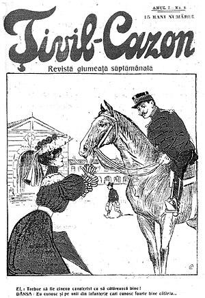 Barbu Lăzăreanu - Țivil-Cazon, Issue 5, 1906. Cover art by Nicolae Petrescu Găină