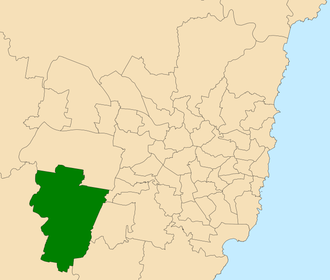 Electoral district of Camden - Location within Sydney