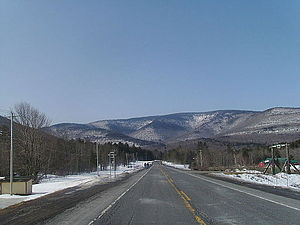 New York State Route 214 - NY 214 heading southbound from NY 23A facing Hunter Mountain