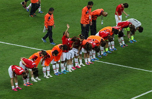 Nadeshiko Japan bows to supporters after 2012 Olympic gold medal match vs USA
