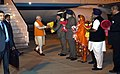 Narendra Modi being received by the Governor of Punjab, Shri Vijayendrapal Singh Badnore, the Chief Minister of Punjab, Shri Parkash Singh Badal, the Union Minister for Food Processing Industries.jpg