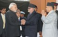 Narendra Modi being received by the Prime Minister of Nepal, Shri Sushil Koirala, at the official handover and inaugural ceremony of the National Trauma Centre, in Kathmandu, Nepal on November 25, 2014.jpg