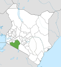 Location of Narok County (Green)