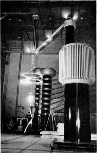 Large corona discharges (white) around conductors energized by a 1.05 million volt transformer in a U.S. NIST laboratory in 1941 National Bureau of Standards high voltage laboratory.png