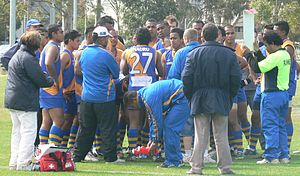 Australian rules football in Nauru - The Chiefs quarter time huddle at the 2008 International Cup.