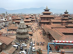 Bird's eye view of the Patan Durbar Square. It has been listed by یونسکو as a میراث جهانی یونسکو.
