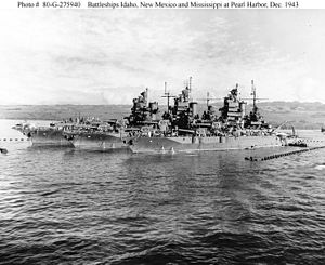 New Mexico-class battleship - Battleships Idaho, New Mexico, and Mississippi at Pearl Harbor, December 1943.