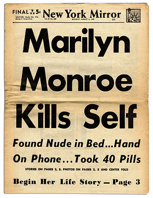 Death of Marilyn Monroe - New York Daily Mirror front page article, August 6, 1962