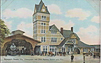 Newport News station - Early postcard of the 1892-built station