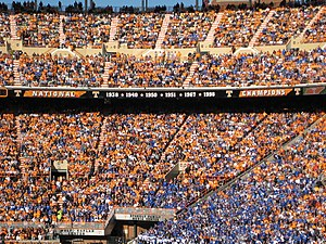 Battle for the Beer Barrel -  Tennessee fans and Kentucky fans in the stands for the 2010 game.