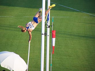 2009 Mediterranean Games - Greek athlete Nikoleta Kyriakopoulou during the women's pole vault event