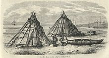 A drawing of three First Nations people in front of two tipis. There are two canoes on the shore and several larger ships in the water beyond.
