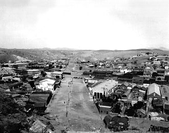 Nogales-Grand Avenue Port of Entry - Nogales International Boundary looking west, in 1899 (prior to boundary fence and border inspection facilities).