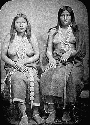 Toplessness - Two Wichita Native Americans in summer dress (1870)
